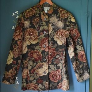 Floral Jacket w/Beads Coldwater Creek Sz 8